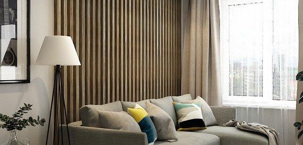 Деревянные рейки, зеленые акценты и узоры пэчворк. Уютная квартира 60 кв.м. нестандартной планировки