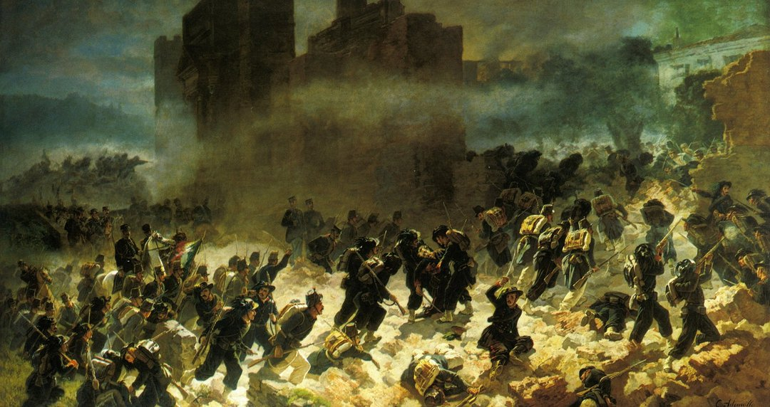 Сардинские стрелки врываются через пролом в стене в районе Порта Пиа