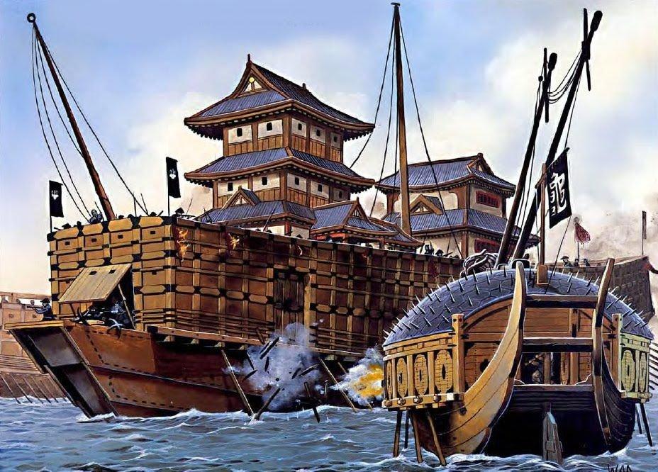 Корабль-черепаха атакует японский флагман